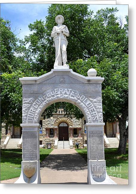 Recently Sold -  - Statue Of Confederate Soldier Greeting Cards - Confederate Soldier Statue Greeting Card by Ruth  Housley
