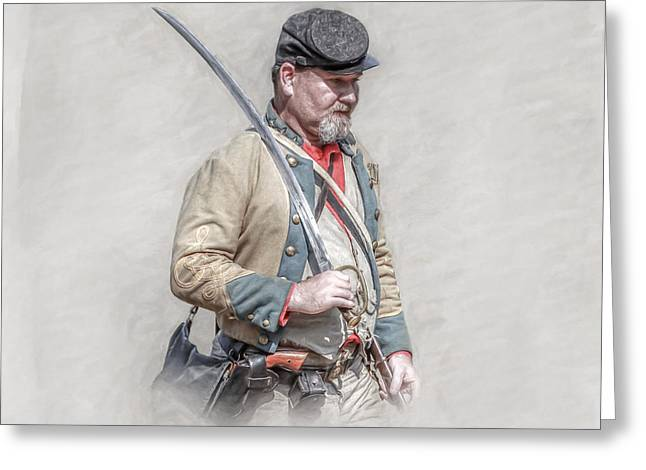 Army Of Northern Virgina Greeting Cards - Confederate Soldier with Sword Portrait   Greeting Card by Randy Steele