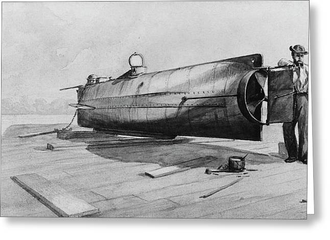 Confederate Submarine H. L. Hunley Greeting Card by Us Navy
