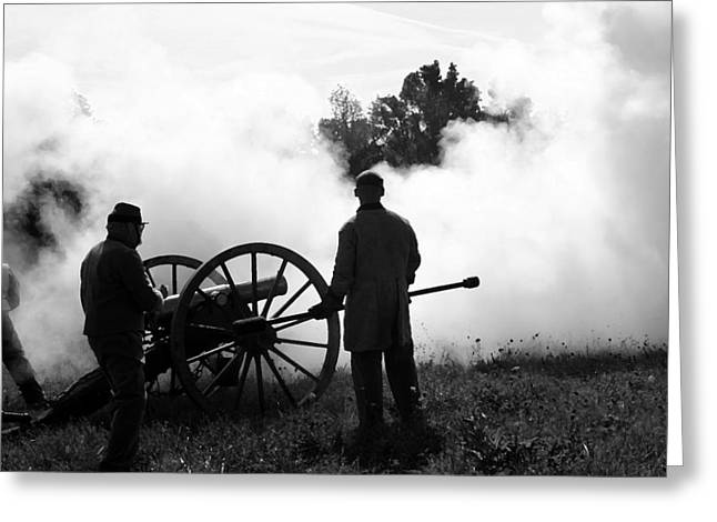 Americans Tapestries - Textiles Greeting Cards - Confederate Twelve Pounder Fired - Perryville KY Greeting Card by Thia Stover