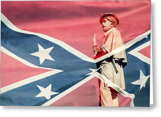 Confederate Monument Greeting Cards - Confederate Wrapped in Flag Greeting Card by Don Johnson