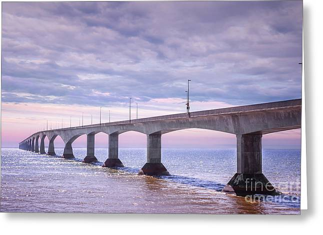 Pink Road Greeting Cards - Confederation Bridge sunset Greeting Card by Elena Elisseeva