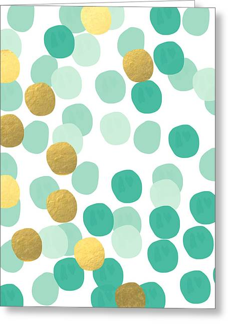 White Circles Greeting Cards - Confetti 2- abstract art Greeting Card by Linda Woods