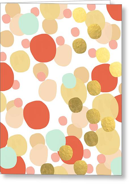 Shapes Mixed Media Greeting Cards - Confetti- abstract art Greeting Card by Linda Woods