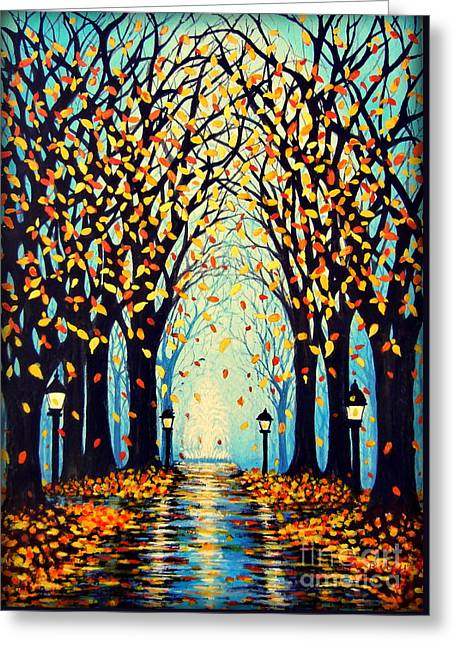 Lights Reflecting On Water Greeting Cards - Confetti Greeting Card by Janine Riley