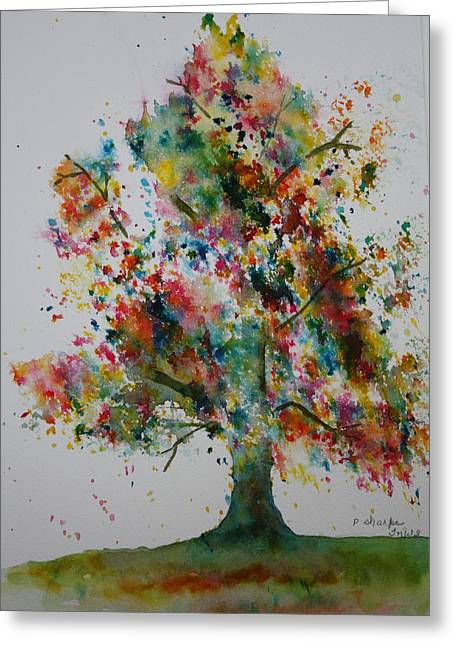 Splashy Paintings Greeting Cards - Confetti Tree Greeting Card by Patsy Sharpe