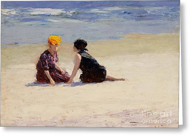 Swimsuits Swimming Costumes Greeting Cards - Confidences Greeting Card by Edward Henry Potthast