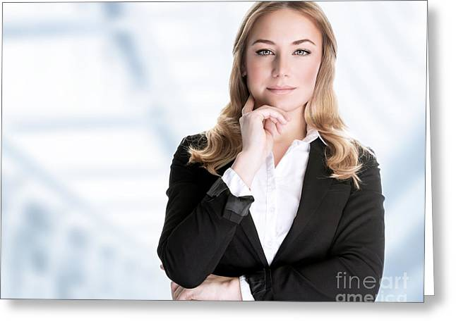 Businesspeople Greeting Cards - Confident business woman Greeting Card by Anna Omelchenko