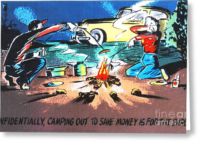 Road Trip Drawings Greeting Cards - Confidentially camping out to save money is for the birds Greeting Card by Eldon Frye