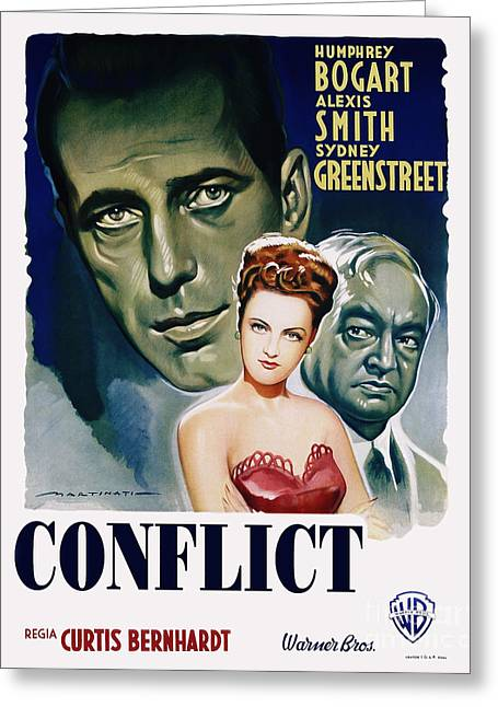 Classic Hollywood Photographs Greeting Cards - Conflict Movie Poster - Humphrey Bogart Greeting Card by MMG Archive Prints