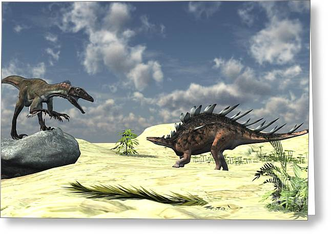 Dromaeosaurid Greeting Cards - Confrontation Between A Utahraptor Greeting Card by Kostyantyn Ivanyshen