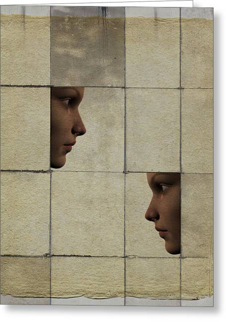 Two Faces Greeting Cards - Confrontation Greeting Card by David Ridley