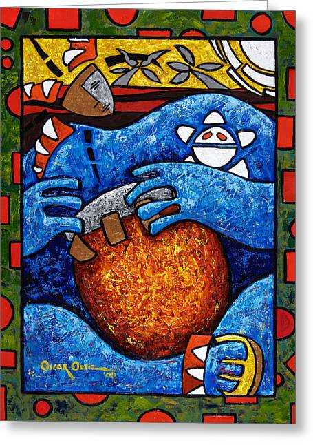 Taino Greeting Cards - Conga on Fire Greeting Card by Oscar Ortiz