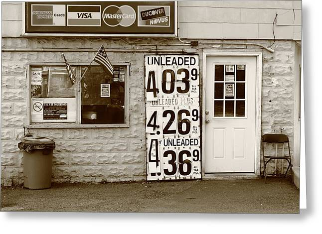 Inflation Greeting Cards - Congers New York - Gas Station Greeting Card by Frank Romeo