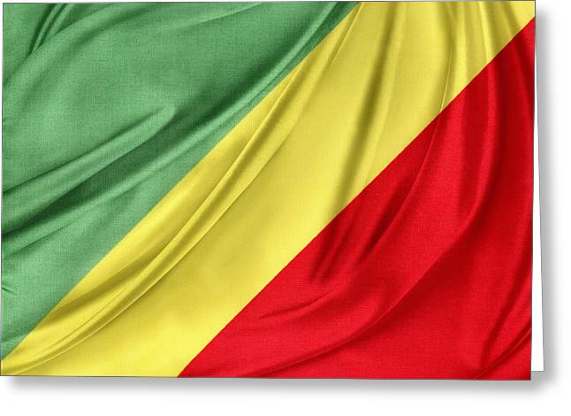 Shiny Fabric Greeting Cards - Congo flag Greeting Card by Les Cunliffe