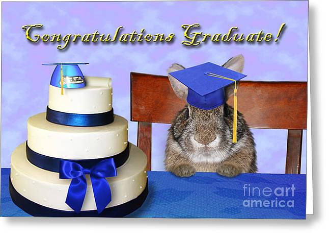 Wildlife Celebration Greeting Cards - Congratulations Graduate Bunny Rabbit Greeting Card by Jeanette K