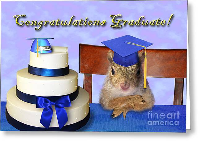 Wildlife Celebration Greeting Cards - Congratulations Graduate Squirrel Greeting Card by Jeanette K