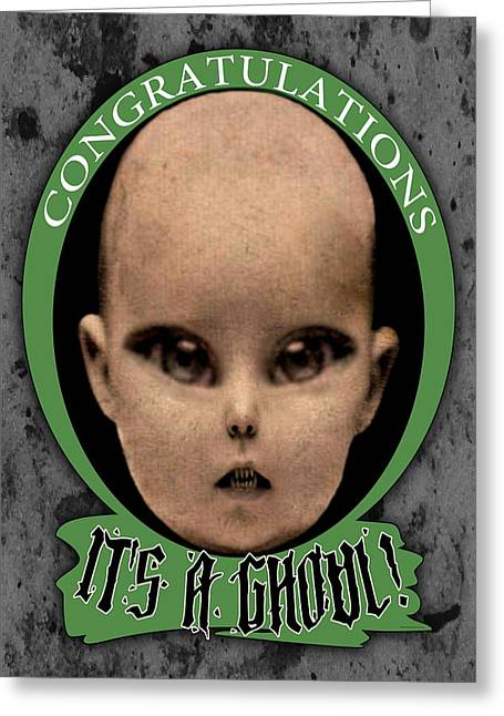 Outerspace Mixed Media Greeting Cards - Congratulations Its a Ghoul Greeting Card by Kris Milo
