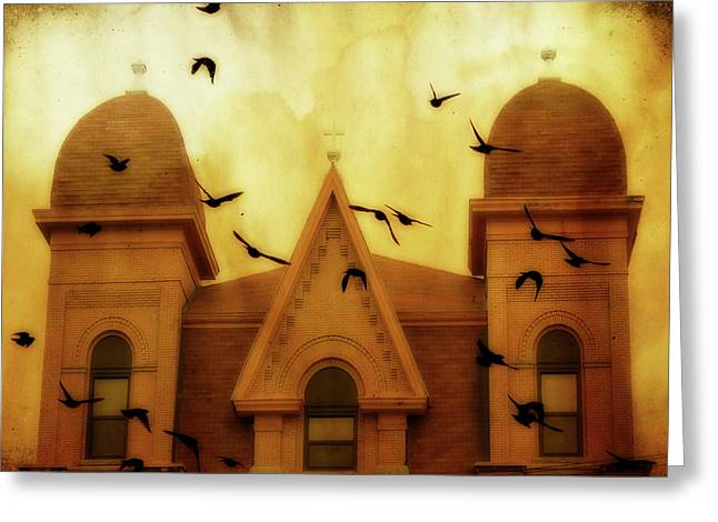 Bird Congregation Greeting Cards - Congregation  Greeting Card by Gothicolors Donna Snyder