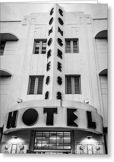 Historic District Greeting Cards - Congress Hotel 2 Art Deco District SOBE Miami Florida - Black and White Greeting Card by Ian Monk