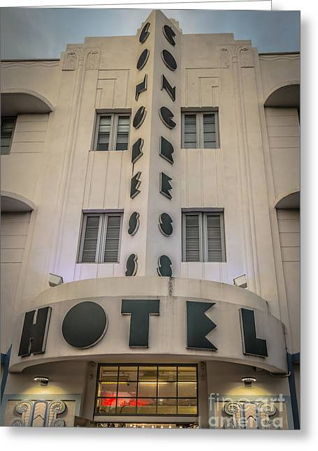 Historic District Greeting Cards - Congress Hotel 2 Art Deco District SOBE Miami Florida - HDR Styl Greeting Card by Ian Monk