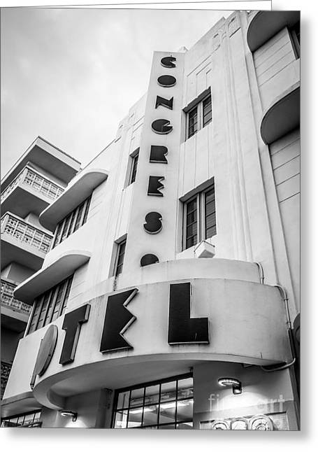 Historic District Greeting Cards - Congress Hotel Art Deco District SOBE Miami Florida - Black and White Greeting Card by Ian Monk
