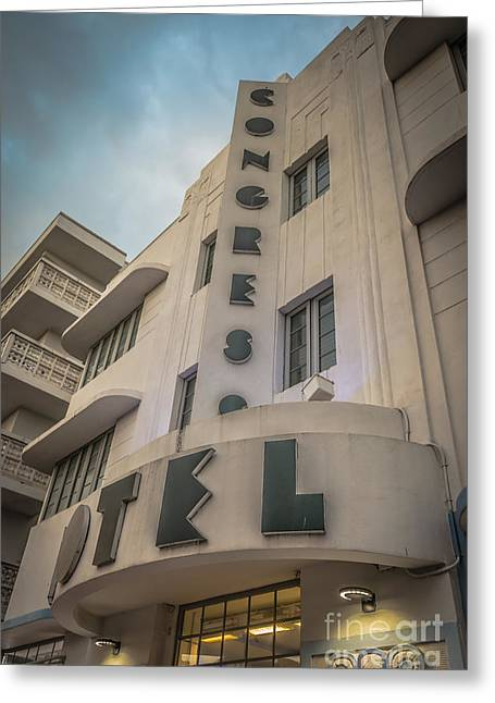 Historic District Greeting Cards - Congress Hotel Art Deco District SOBE Miami Florida - HDR Style Greeting Card by Ian Monk