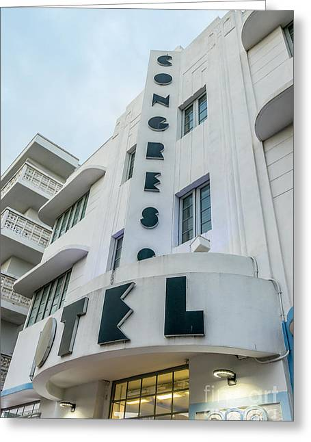 Historic District Greeting Cards - Congress Hotel Art Deco District SOBE Miami Florida  Greeting Card by Ian Monk