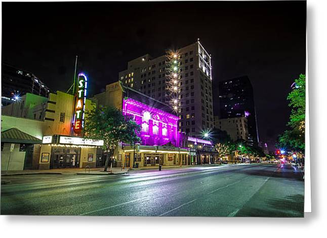 Congress Street Greeting Cards - Congress Street in Downtown Austin Greeting Card by David Morefield