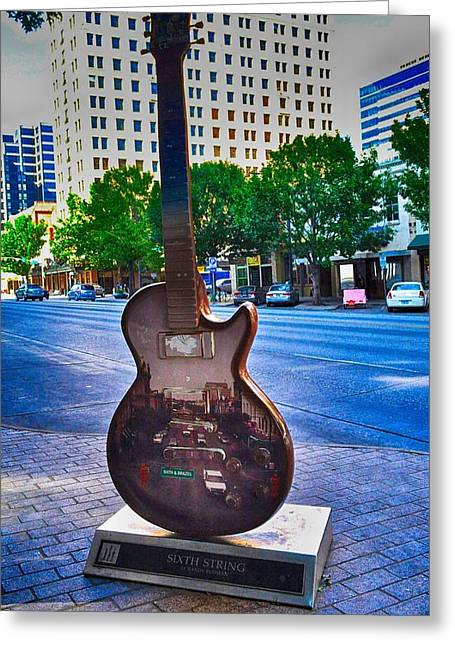 Stevie Ray Vaughn Greeting Cards - Congress Avenue Sixth String Greeting Card by Kristina Deane