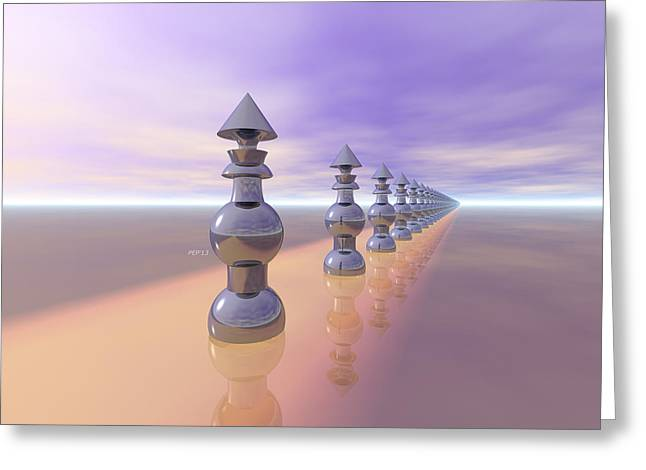 Chess Piece Digital Greeting Cards - Conical Geometric Progression Greeting Card by Phil Perkins