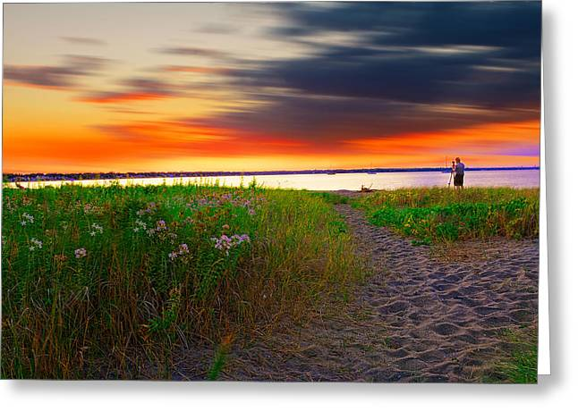 Conimicut Point Beach Rhode Island Greeting Card by Lourry Legarde