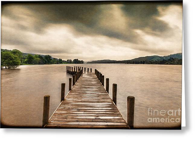 Vintage Landscape Greeting Cards - Coniston Water Cumbria England Greeting Card by Colin and Linda McKie
