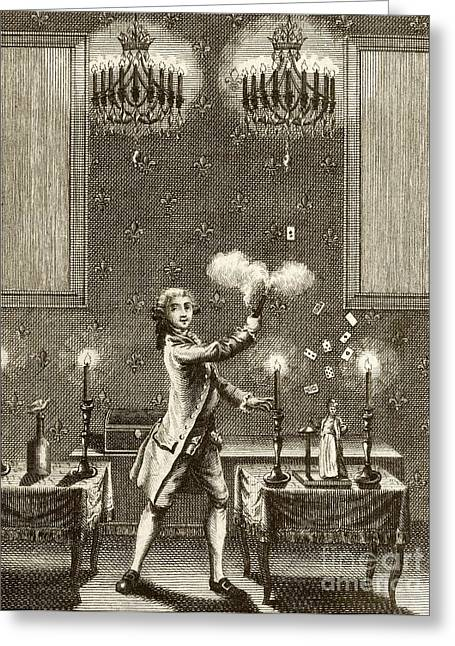 White Magic Greeting Cards - Conjuring Performance, 18th Century Greeting Card by British Library