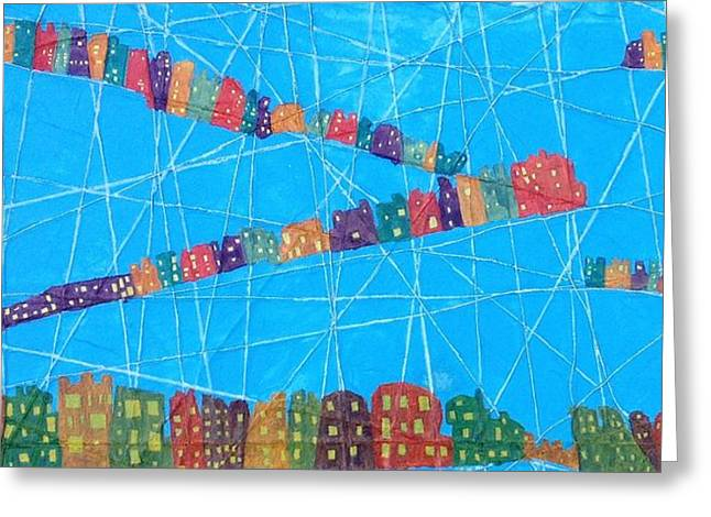 String Sculptures Greeting Cards - Connect City Greeting Card by Isaac Alcantar