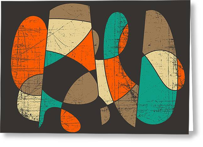 Abstract Modern Greeting Cards - Connected Greeting Card by Jazzberry Blue