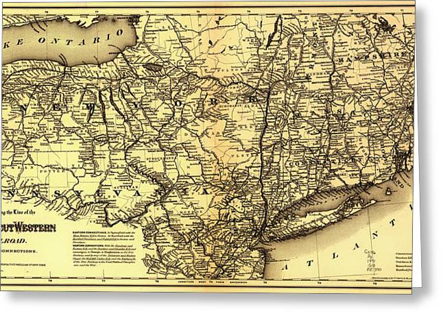 Road Travel Drawings Greeting Cards - Connecticut and Western Railroad Map 1871 Greeting Card by Mountain Dreams