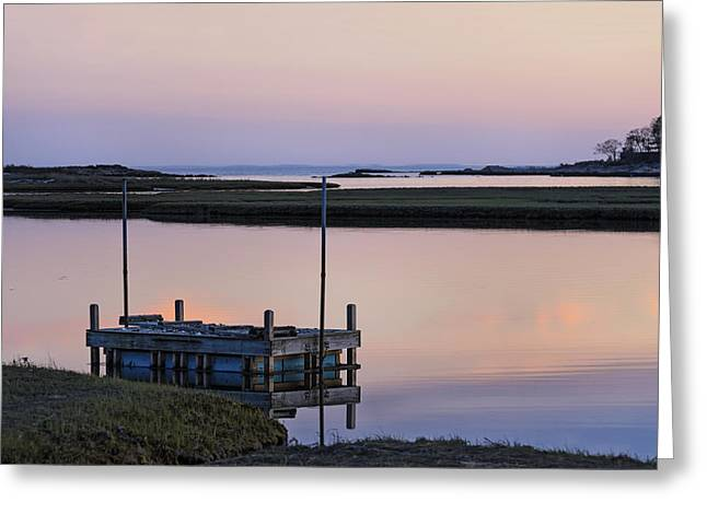 Connecticut Backwaters Sunset With Dock Series 4 Greeting Card by Marianne Campolongo