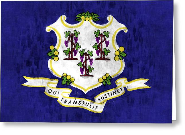 Flag Of Usa Greeting Cards - Connecticut Flag Greeting Card by World Art Prints And Designs