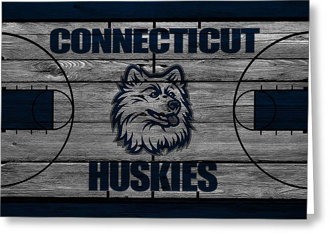 Division Greeting Cards - Connecticut Huskies Greeting Card by Joe Hamilton