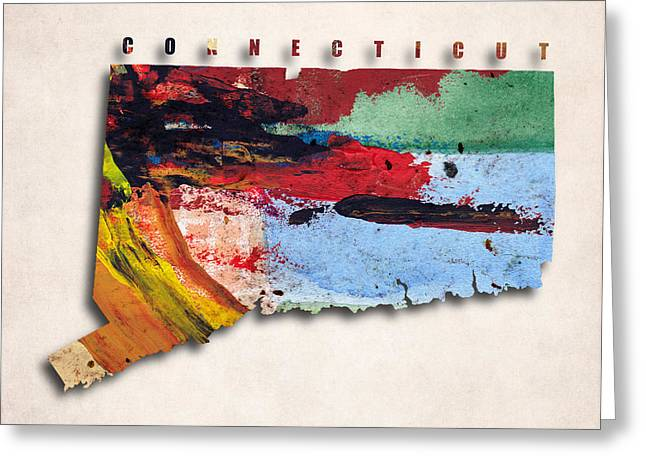 Abstract Map Greeting Cards - Connecticut Map Art - Painted Map of Connecticut Greeting Card by World Art Prints And Designs