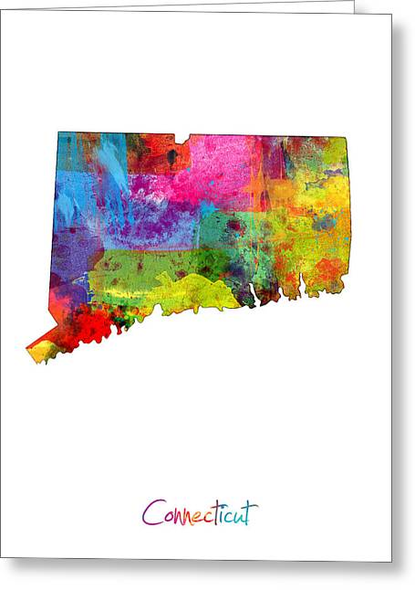 Connecticut Greeting Cards - Connecticut Map Greeting Card by Michael Tompsett
