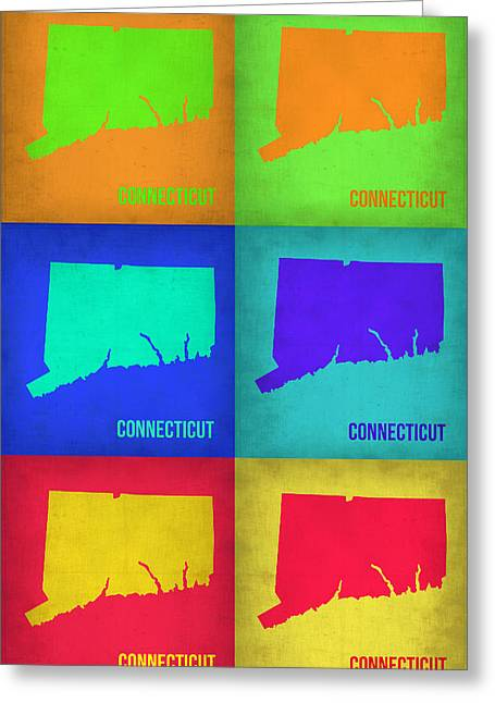 Connecticut Greeting Cards - Connecticut Pop Art Map 1 Greeting Card by Naxart Studio