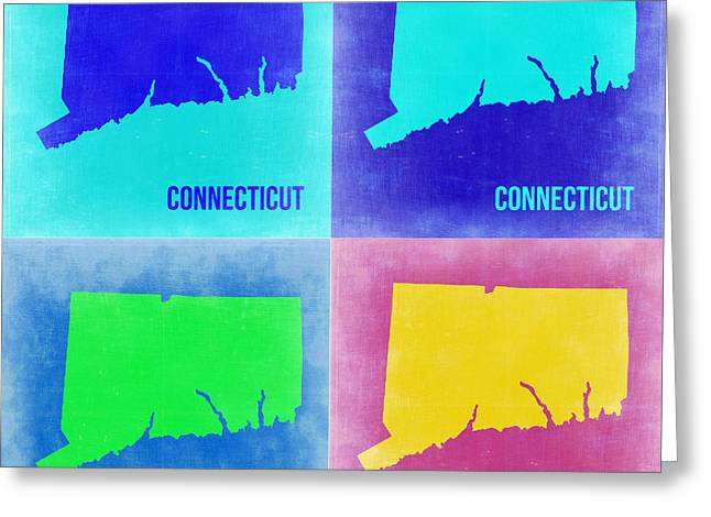 Connecticut Greeting Cards - Connecticut Pop Art Map 2 Greeting Card by Naxart Studio