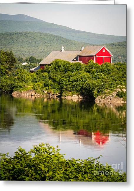 Mountain Valley Greeting Cards - Connecticut River Farm Greeting Card by Edward Fielding