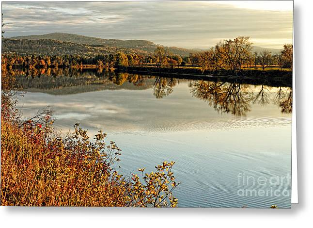 Connecticut River Greeting Cards - Connecticut River Tranquil Autumn Scenic Vista Greeting Card by George Oze