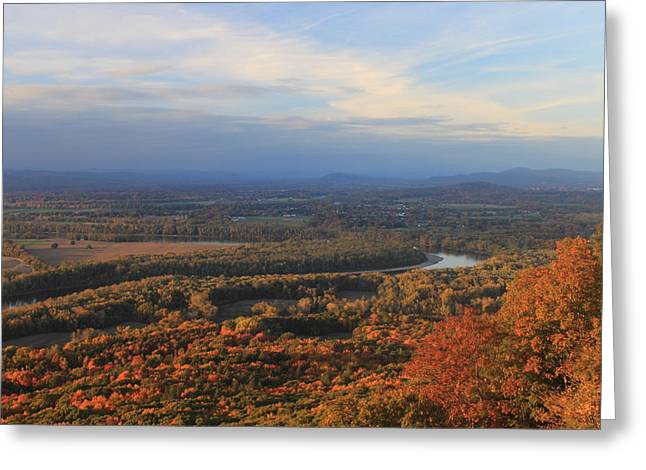 Holyoke Range Greeting Cards - Connecticut River Valley in Autumn from Mount Holyoke Greeting Card by John Burk