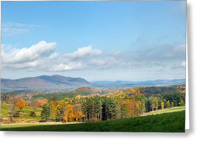 Fall Panorama Greeting Cards - Connecticut Scenic Vista Greeting Card by Bill  Wakeley