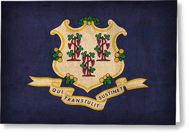 Connecticut Greeting Cards - Connecticut State Flag Art on Worn Canvas Greeting Card by Design Turnpike