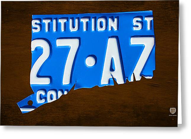 Connecticut Greeting Cards - Connecticut State License Plate Map Greeting Card by Design Turnpike